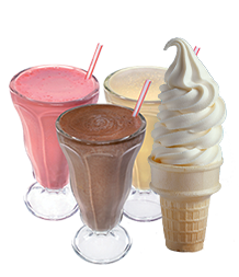 ice cream cones and shakes
