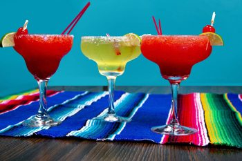 trio of margarita glasses
